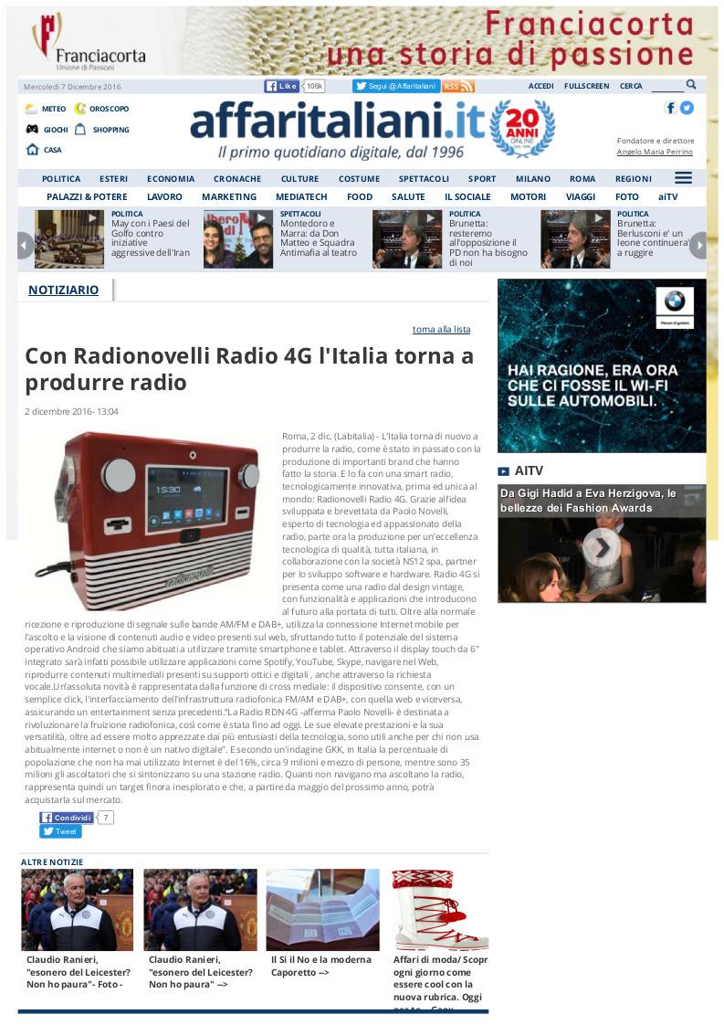 Rassegna stampa - Affaritaliani