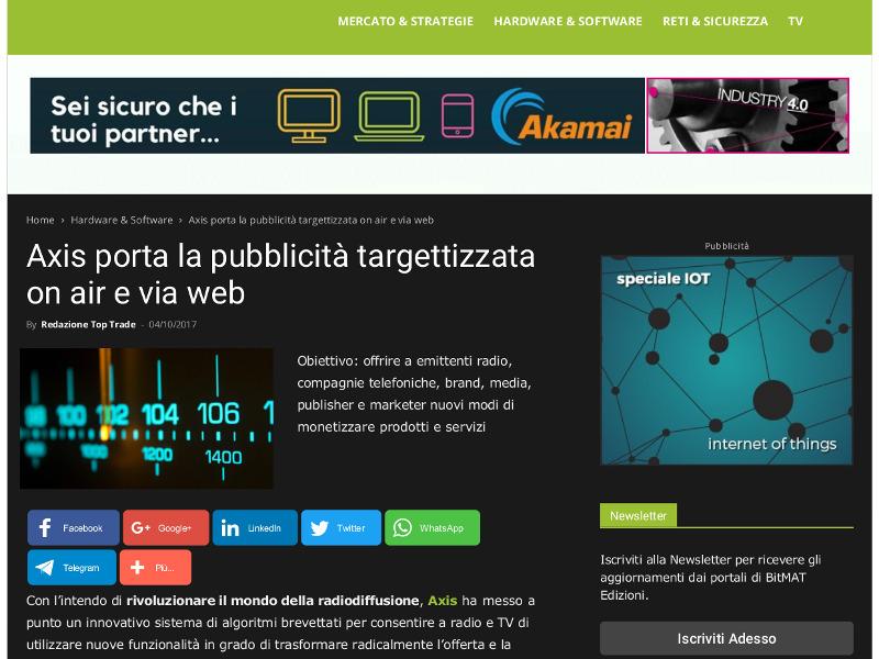 Axis porta la pubblicità targettizzata on air e via web